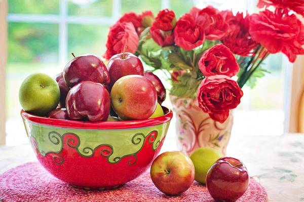 Bowl Of Red Apples Poster