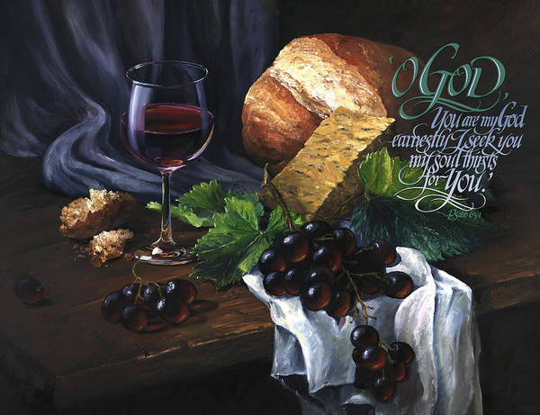 Poster featuring the painting Bread And Wine by Clint Hansen