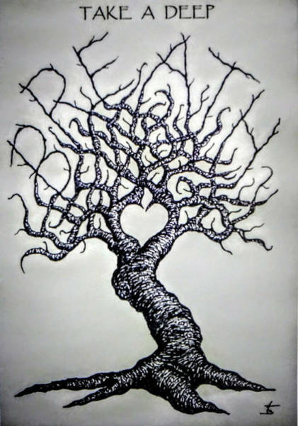 Poster featuring the drawing Breathe Love Tree - Blk/wht by Aaron Bombalicki