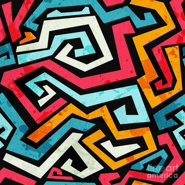 Bright Graffiti Seamless Pattern With Poster