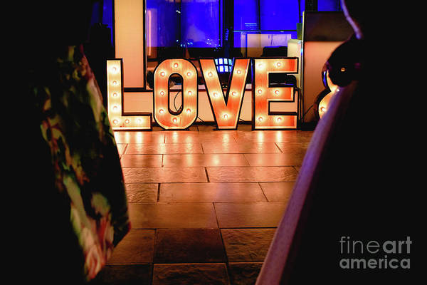 Bright Wooden Letters With Word Love In A Party Poster