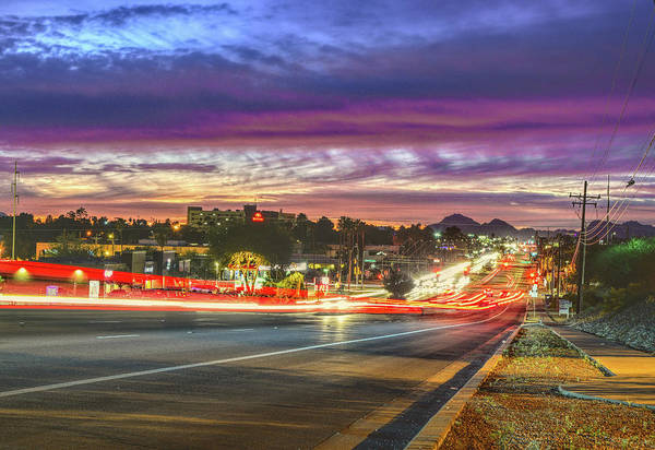 Poster featuring the photograph Broadway Sunset, Tucson, Az by Chance Kafka