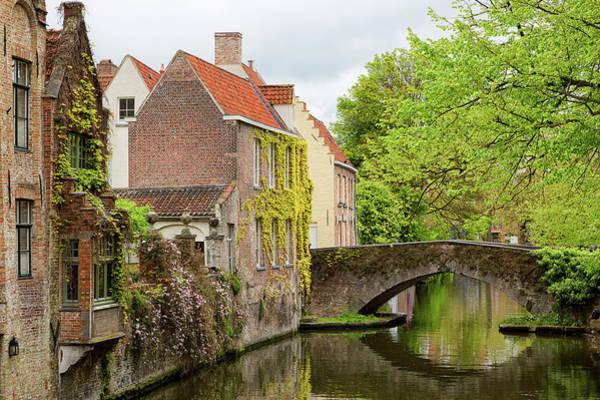Bruges Footbridge Over Canal Poster