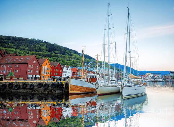 Bryggen Street With Boats In Bergen Poster