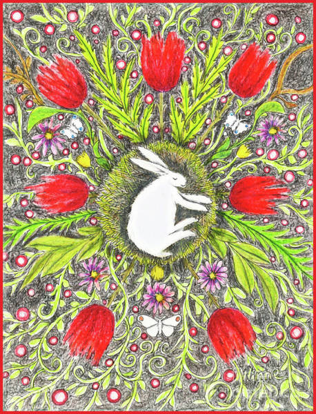 Bunny Nest With Red Flowers And White Butterflies Poster
