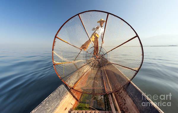 Burma Myanmar Inle Lake Fisherman On Poster