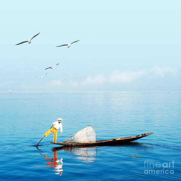 Burma Myanmar Inle Lake Traditional Poster
