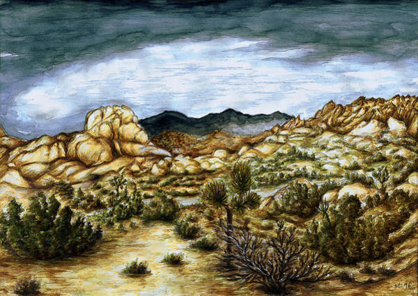 California Desert Landscape - Watercolor Art Painting Poster