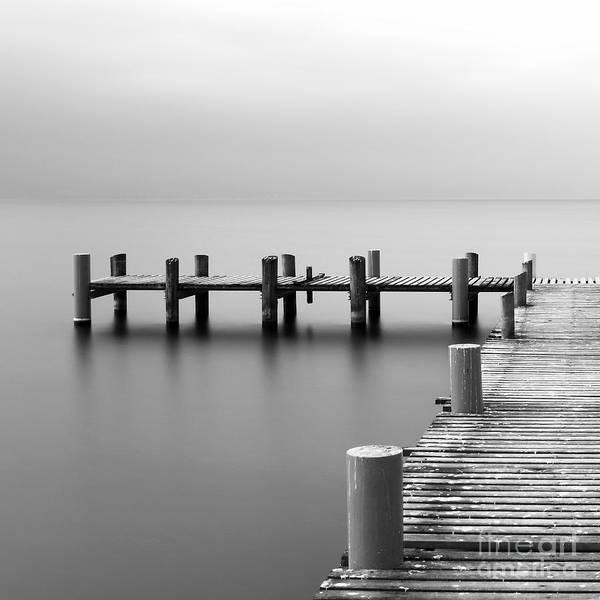 Calm Scene In Black And White With Poster