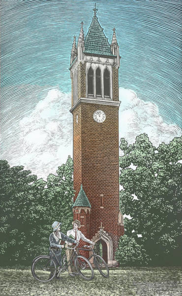 Poster featuring the drawing Campanile 1928 by Clint Hansen