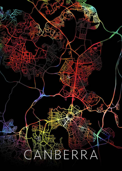 Canberra Australia City Street Map Watercolor Dark Mode Poster