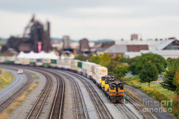 Cargo Train Photographed Using A Poster