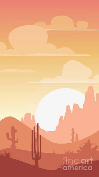 Cartoon Desert Landscape, Sunset Poster
