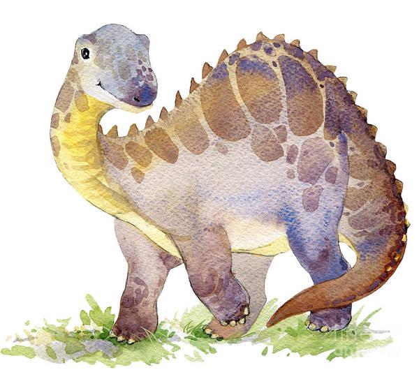 Cartoon Dinosaur Watercolor Poster
