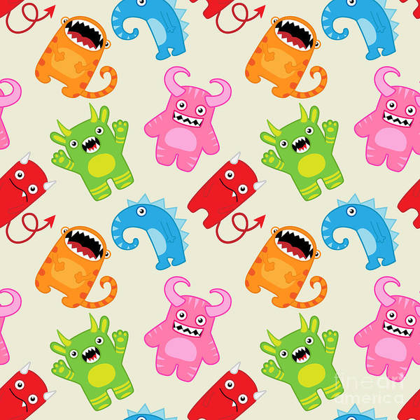 Cartoon Monsters Seamless Pattern Poster