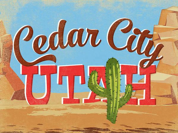 Cedar City Utah Cartoon Desert Poster