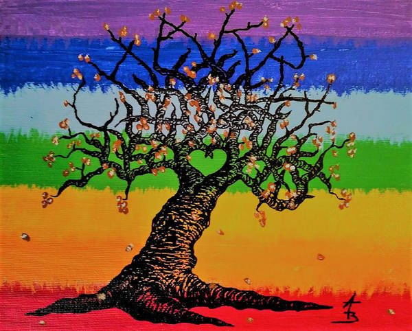 Poster featuring the drawing Chakra Love Tree by Aaron Bombalicki