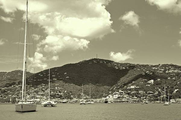 Charlotte Amalie Harbor In Sepia Poster