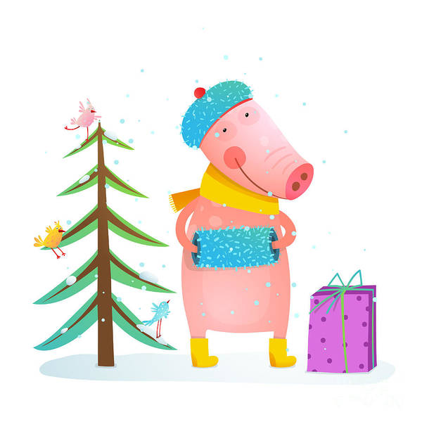 Childish Cheerful Little Pig In Winter Poster