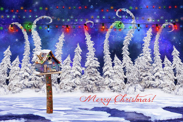 Christmas Card With Bird House Poster