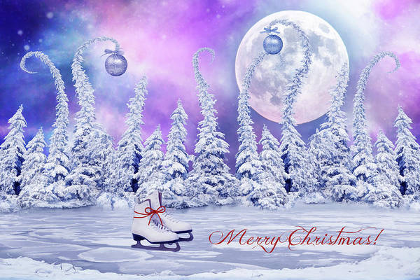 Christmas Card With Ice Skates Poster