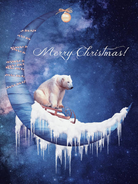 Christmas Card With Moon And Bear Poster