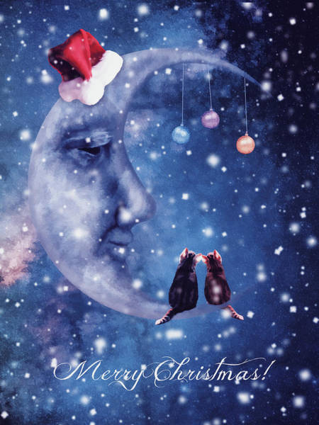 Christmas Card With Smiling Moon And Cats Poster
