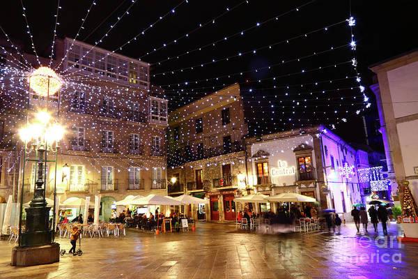 Christmas Lights In Casco Vello Vigo Spain Poster