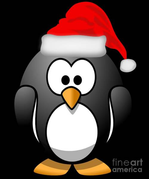 Poster featuring the digital art Christmas Santa Penguin by Flippin Sweet Gear