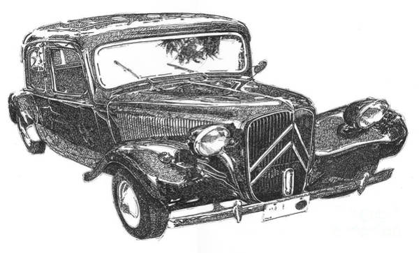 Citroen 11b 1956, Classic Car, Ink Drawing, Office Decoration Poster