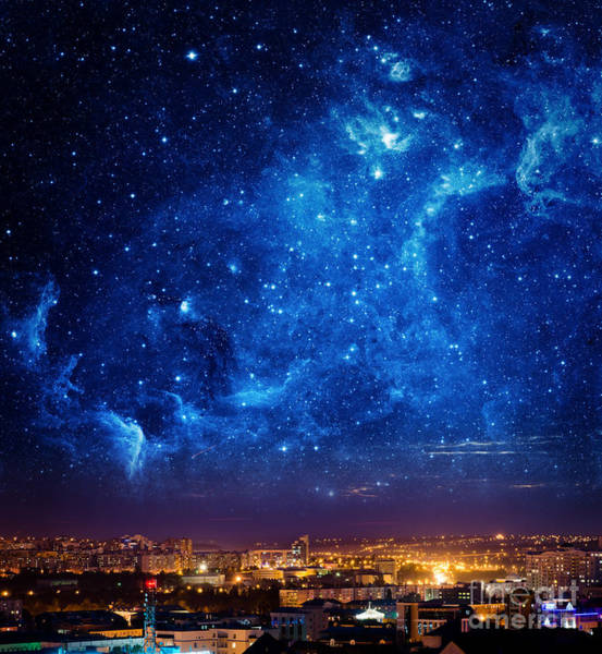 City Landscape At Nigh With Sky Filled Poster