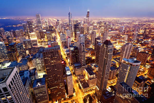 City Of Chicago. Aerial View  Of Poster
