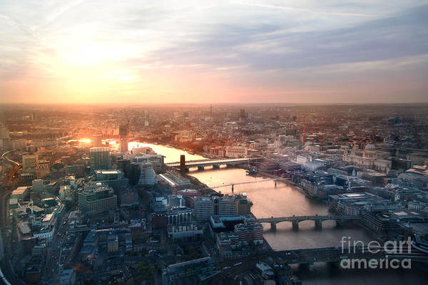City Of London Panorama In Sunset Poster