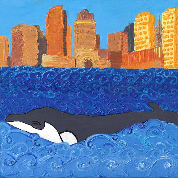Poster featuring the painting City Whale by Caroline Sainis