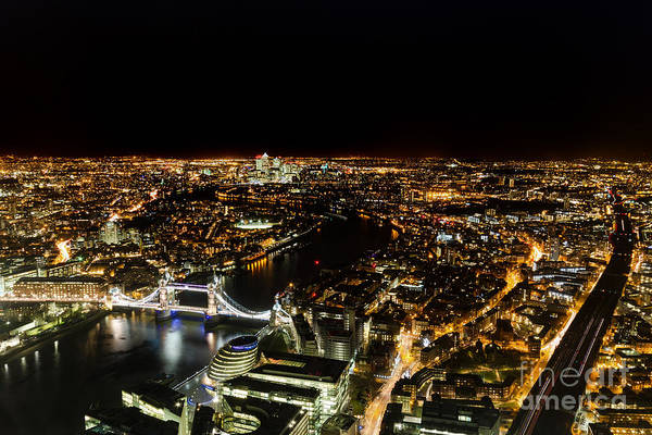 Cityscape Of London At Night Poster
