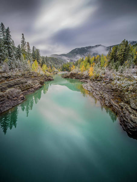 Clash Of Seasons / Flathead River, Glacier National Park  Poster