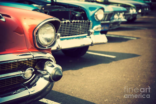 Classic Cars In A Row Poster