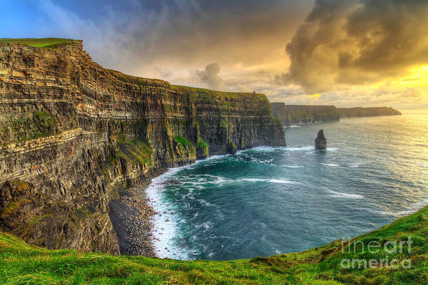 Cliffs Of Moher At Sunset, Co. Clare Poster