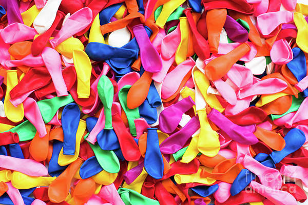 Close-up Of Many Colorful Children's Balloons, Background For Mo Poster