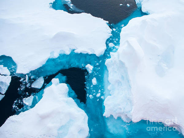 Close Up Photo Of Beautiful Blue Ice In Poster