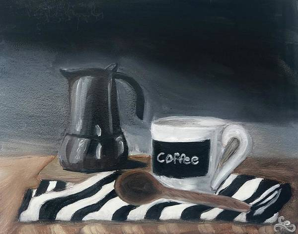 Poster featuring the painting Coffee Time by Fe Jones