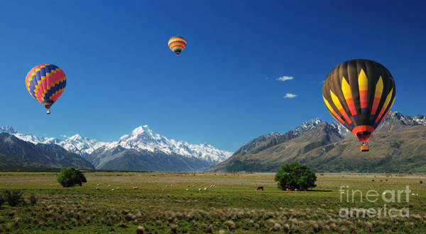 Colorful Balloons Floating Over Mt. Cook Poster