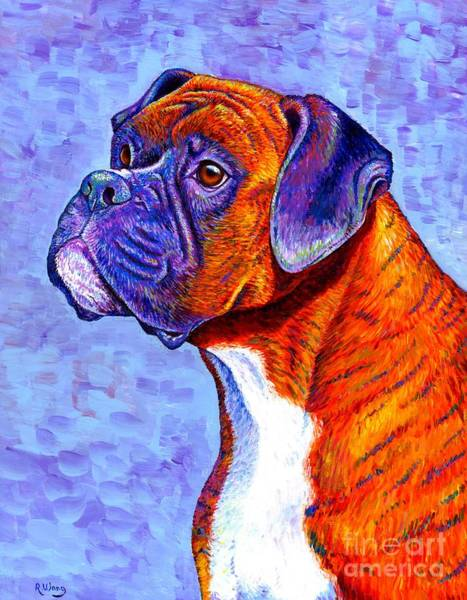 Colorful Brindle Boxer Dog Poster