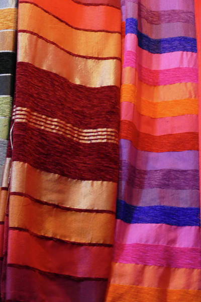 Colorful Fabrics In The Medina Market  Poster