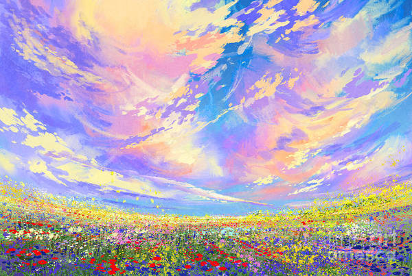 Colorful Flowers In Field Under Poster