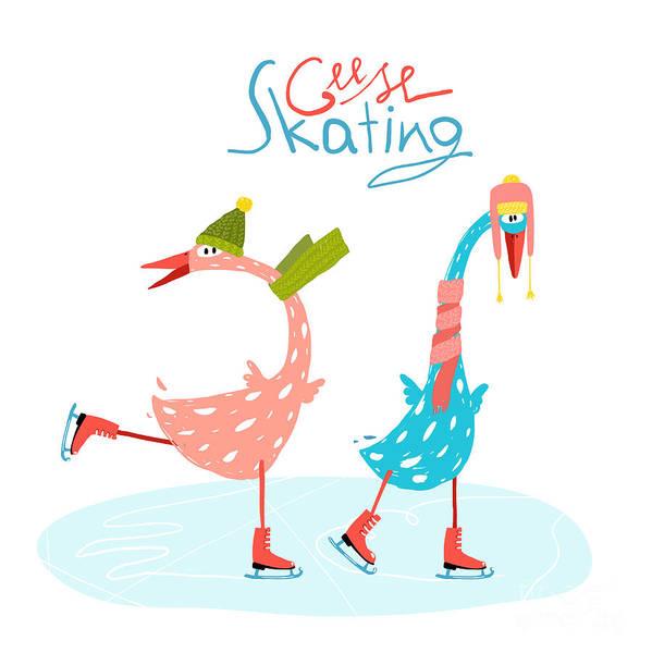 Colorful Fun Cartoon Ice Skating Geese Poster