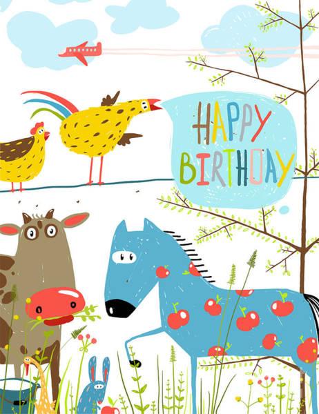 Colorful Funny Cartoon Farm Domestic Poster