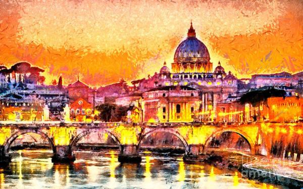 Colorful Illuminated San Peter Basilica Poster