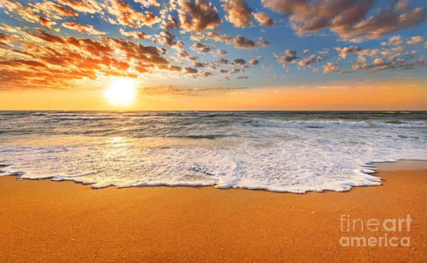 Colorful Ocean Beach Sunrise Poster