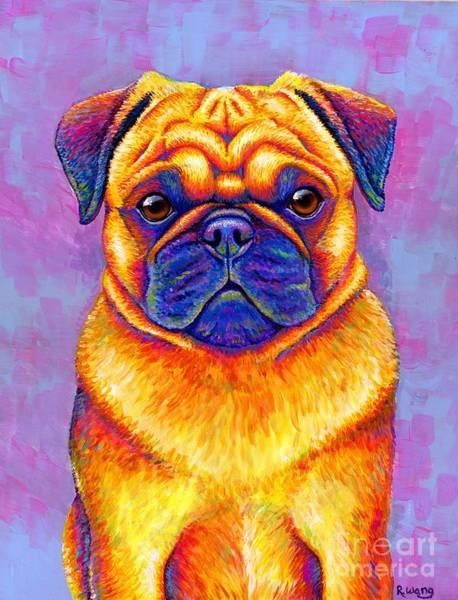 Colorful Rainbow Pug Dog Portrait Poster